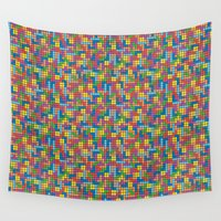 tetris Wall Tapestries featuring Colorful Tetris Pixel Pattern by Pi Design Prints