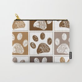 Doodle paw print pattern with brown square Carry-All Pouch