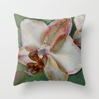 orchid Throw Pillows featuring Orchid by LoRo  Art & Pictures