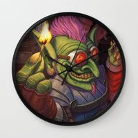 warcraft Wall Clocks featuring The Firework Maker Goblin by foreest