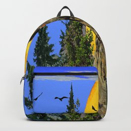 OWL WITH FULL MOON & TREES NATURE BLUE DESIGN Backpack