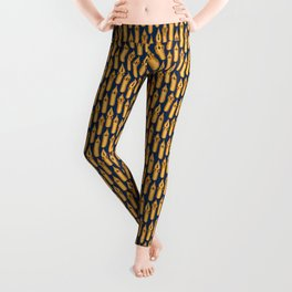 Dip Pen Nibs (Navy and Yellow Ochre) Leggings