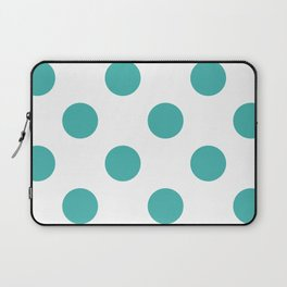 Large Polka Dots - Verdigris on White Laptop Sleeve