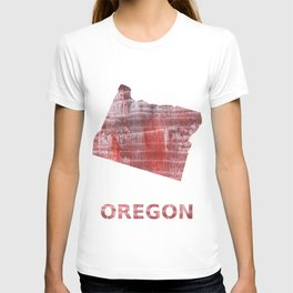 Oregon map outline Striped red watercolor design T-shirt