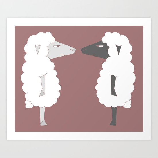 White Sheep meets Black Sheep Art Print