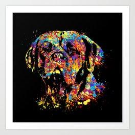 Colorful Dogue de Bordeaux Art Print
