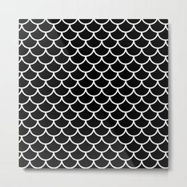 Black and white fish scales pattern Metal Print