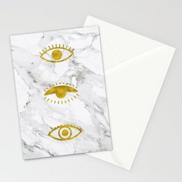 Golden Eyes on Marble Stationery Cards