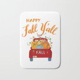 Happy Fall Y'all Vintage Pumpkin Truck Hand Lettered Hand Drawn Bath Mat