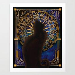 Celestial Sable - Black Cat And Night Magic Mandala Art Print