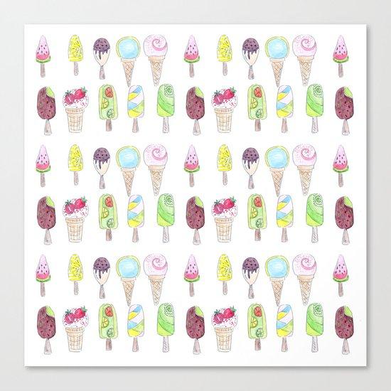 Watercolor. Ice cream . i Canvas Print