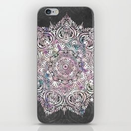 Dreaming Mandala - Magical Purple on Gray iPhone Skin