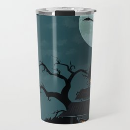 Halloween Spooky Scary House Moon Bats Tree Night Travel Mug