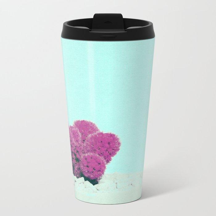 Vintage Pink Cactus on Blue Metal Travel Mug
