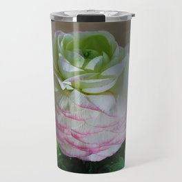 White and Pink Ranunculus Travel Mug