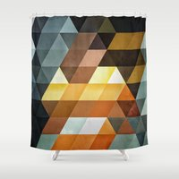 spires Shower Curtains featuring gyld^pyrymyd by Spires