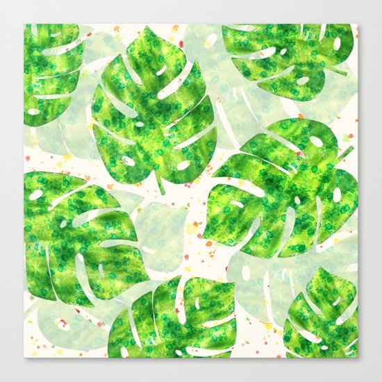 Tropical Monstera Leaves Unique Pattern Canvas Print