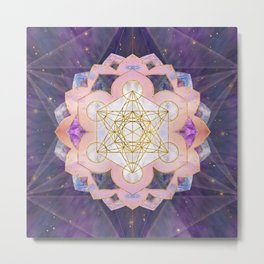 Metatron's Cube in Gemstone lotus Sacred Geometry  Metal Print