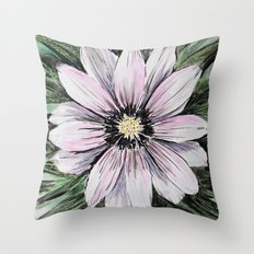 Pink Daisy mixed media painting Throw Pillow