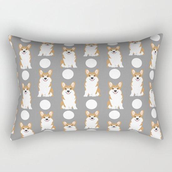 Corgi polka dot pattern grey cute corgi dog for dog people Rectangular Pillow
