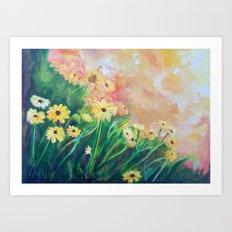 Yellow Daisies by Veron Ramsawak Art Print