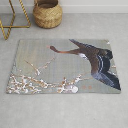 15,000px,600dpi-Ito Jakuchu - Common reed and Wild Geese - Digital Remastered Edition Rug