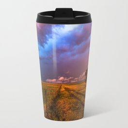 Far and Away - Lone Tree Under Colorful Sky in Oklahoma Panhandle Travel Mug