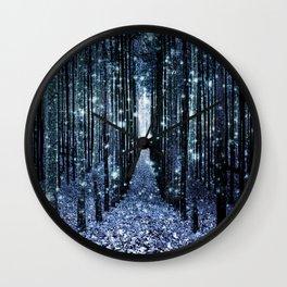 Magical Forest Teal Indigo Elegance Wall Clock