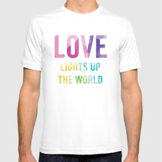 Love Lights Up The World Quote MEDIUM White Mens Fitted Tee