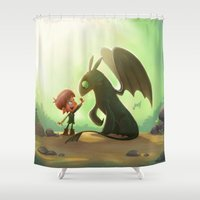how to train your dragon Shower Curtains featuring How to Train Your Dragon Fan Art by Daniel Jervis Art
