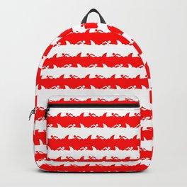 Bondi Beach Red and White Shark Attack Beach Stripe Backpack