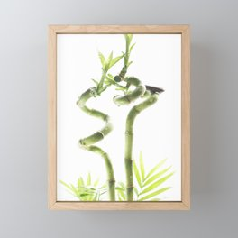 decorative bamboo against a light background Framed Mini Art Print