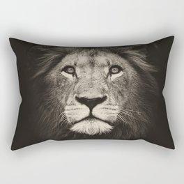 Portrait of a lion king - monochrome photography illustration Rectangular Pillow
