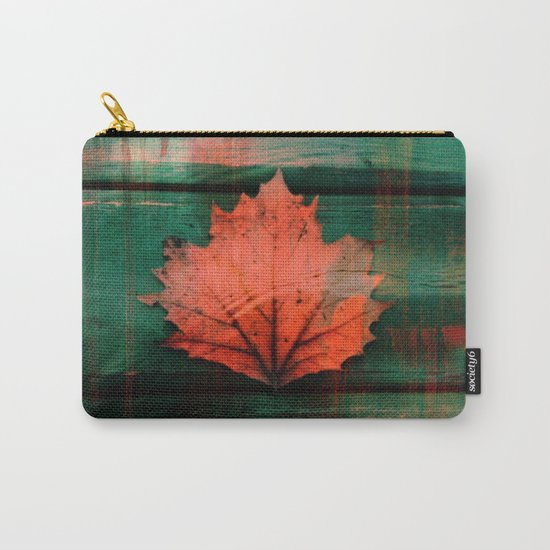 Rusty red dried fall leaf on wooden hunter green beams Carry-All Pouch