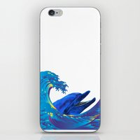 hokusai iPhone & iPod Skins featuring Hokusai Rainbow & Dolphin by FACTORIE