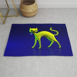 The Yellow Cat And Glass Blue Cherry Rug