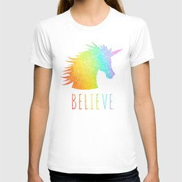 Believe  |  Rainbow Glitter Unicorn T-shirt