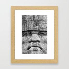 Olmec Man - Ancient Olmec Stone Statue Framed Art Print