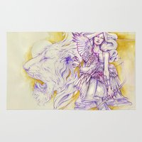 archer Area & Throw Rugs featuring Lion's Archer by Zien-Art