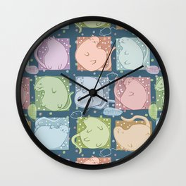 Blobby Cats dark Wall Clock