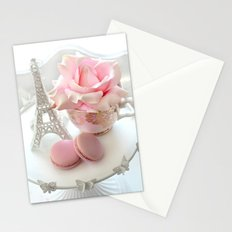 Shabby Chic Paris Pink Macarons Eiffel Tower Roses Romantic Prints and Home Decor Stationery Cards