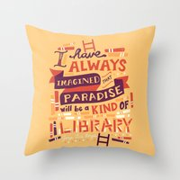 risa rodil Throw Pillows featuring Library by Risa Rodil