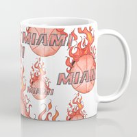 nba Mugs featuring HEAT HAND-DRAWING DESIGN by SUNNY Design