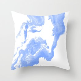 Inno - spilled ink abstract marble painting free water wave ocean swirl marbled paper texture indigo Throw Pillow