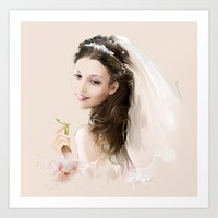 bride Art Prints featuring bride by tatiana-teni