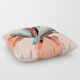 Three Triangles Geometric in Coral Floor Pillow