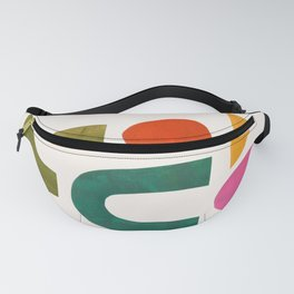 'Summer Pool' by Ejaaz Haniff Minimalist Minimal Colorful Paper Collage Shapes Pattern Mid Century Retro Vintage Style Fanny Pack