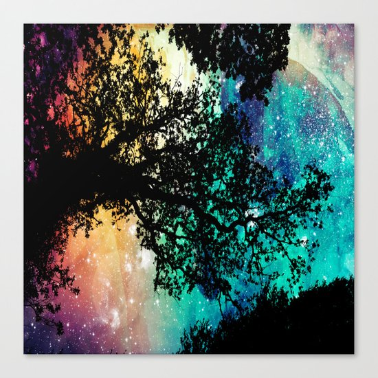 Black Trees Colorful Space Canvas Print