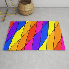 Slanting repetitive lines and rhombuses on bright yellow with intersection of glare. Rug