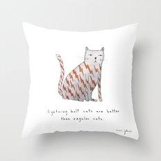 lightning bolt cats are better Throw Pillow